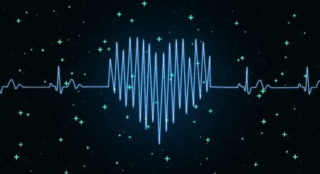 Throbbing heart concept with electrocardiogram heart at abstract tecchnology background. 3D Rendering Stock Photo