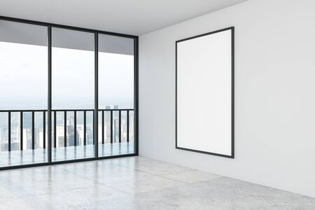 Blank white mock up poster on white wall in modern empty spacious hall with city view. 3D Rendering