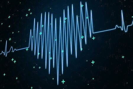 Love concept with digital electrocardiogram heart at abstract background. 3D Rendering