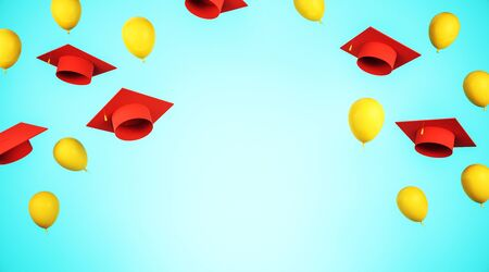 Education and graduation concept with flying red academic caps and yellow balloons with blue space for your logo. 3D Rendering