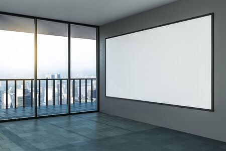 Blank white mock up poster on grey wall in modern empty room with megapolis city view. 3D Rendering Stok Fotoğraf