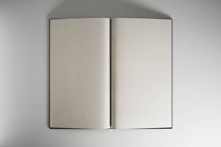 Open book with blank mock up eco sheets at light background, copyspace. 3D Rendering