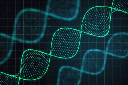 Science and technology concept with digital dna spirals at abstract technology checkered background. 3D Rendering