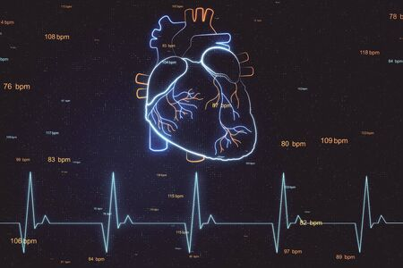 Heart health concept with digital hologram heart layout and pulse line at abstract digital background. 3D Rendering