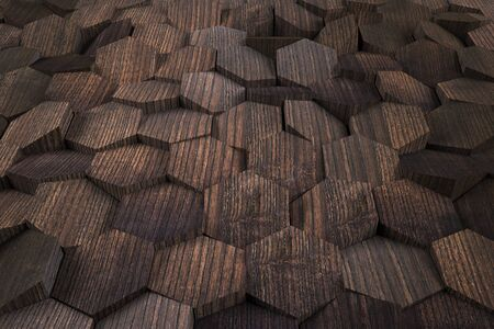 Abstract background with natural wooden cells. 3D Rendering 版權商用圖片