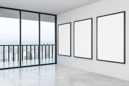 Blank three white mock up posters on white wall in modern empty spacious hall with city view. 3D Rendering Stok Fotoğraf