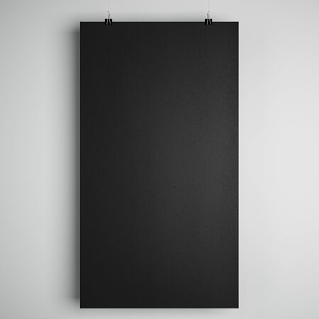 Blank black minimalistic paper list with stationery clips at light background, copyspace. 3D Rendering Stock fotó