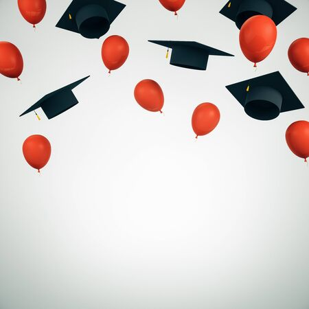 Education concept with flying black academic caps and red balloons with white space for your logo. 3D Rendering Stok Fotoğraf