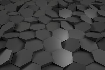 Abstract background with randomly located black metall cells. 3D Rendering