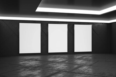 Blank white posters in monochrome style empty hall with concrete floor, mock up. 3D Rendering Stock fotó