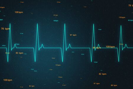 Health concept with correct cardiogram and pulse line at abstract digital background. 3D Rendering