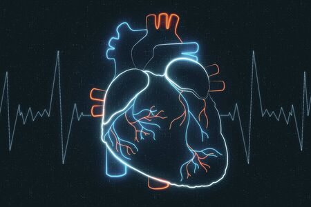 Electrocardiogram and heart analysis concept with digital hologram heart pattern at pulse line background. 3D Rendering