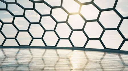 Empty futuristic hall with honeycomb window and wooden floor at sunset. 3D Rendering Фото со стока