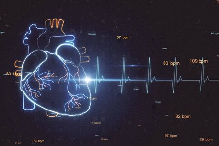 Electrocardiogram and heart concept with hologram heart pattern and pulse line at abstract background. 3D Rendering Stock Photo