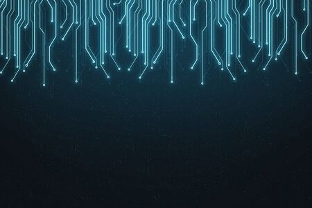 Abstract technology background with glowing microcircuit lines hanging from above and copyspace. 3D Rendering