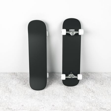 Three blank white skateboards at dark grey background, mock up. 3D Rendering