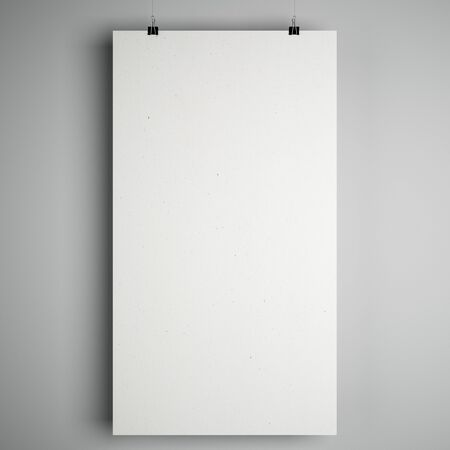 Blank white mock up minimalistic paper list with stationery clips at grey background. 3D Rendering Stock fotó