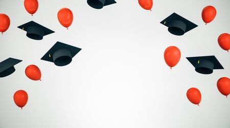 Education and graduation concept with flying black academic caps and red balloons with white space for your logo. 3D Rendering