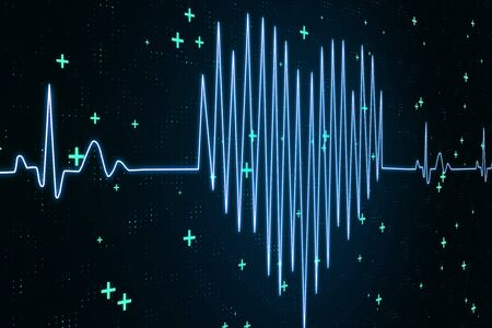 Electrocardiogram and health concept with digital heart pattern from ECG stroke.3D Rendering