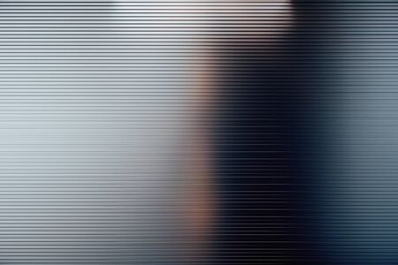 Abstract background with polished metal horizontal lines and blurry reflections. 3D Rendering