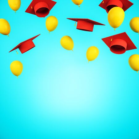 Education concept with flying red academic caps and yellow balloons with blue space for your logo. 3D Rendering Stok Fotoğraf