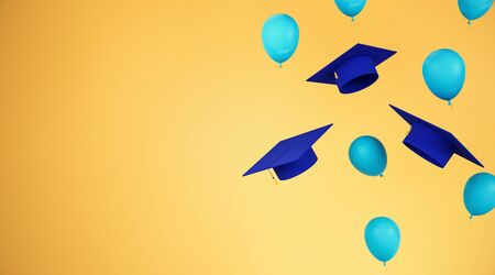 Education concept with flying blue graduation caps and balloons with yellow space for your logo. 3D Rendering