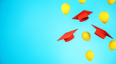 Education concept with flying red graduation caps and yellow balloons with blue space for your logo. 3D Rendering