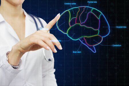 Medical research concept with doctor touching digital screen with human brain marked by neon lines. Archivio Fotografico - 130559857