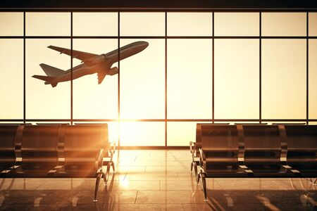 Abstract airport interior with flying by airplane and sunlight view in panoramic window. 3D Rendering