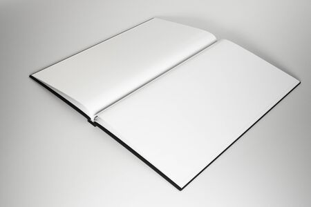 Abstract open white hardcover book on subtle background. Publish and advertisement concept. Mock up, 3D Rendering