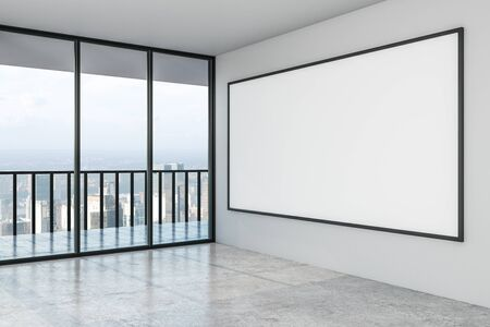 Blank big white mock up poster on white wall in modern empty spacious hall with city view. 3D Rendering