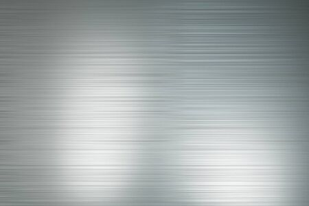 Abtsract background with light grey polished metal horizontal lines with light spots. 3D Rendering Stockfoto