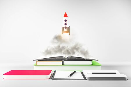 Rocket ship launching off book pile on subtle white background. Startup and education concept. 3D Rendering 版權商用圖片
