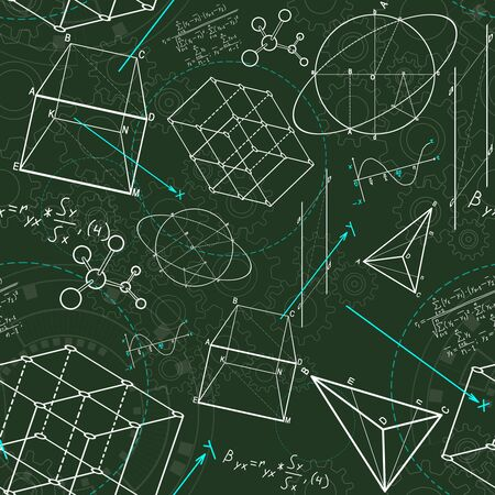 Creative geometric figures sketch on green background. Geometry. science and education concept, 3D Rendering