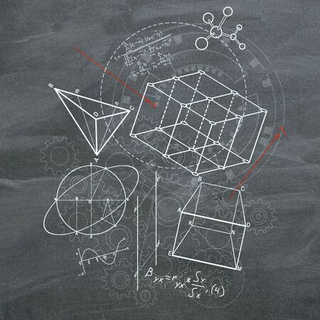 Creative geometric figures sketch on blackboard background. Geometry. science and education concept, 3D Rendering