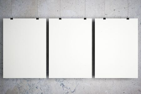 Empty three white banners hanging on concrete wall background. Close up. Gallery concept. Mock up, 3D Rendering