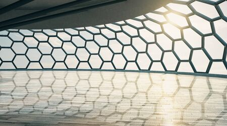 Futuristic style empty hall with honeycomb window and wooden floor at sunset. 3D Rendering