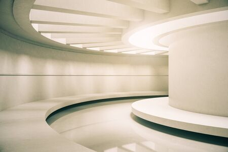 Modern futuristic concrete space ship interior with light. Abstract tunnel. 3D Rendering