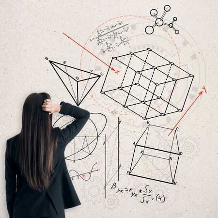 Back view of stressed businesswoman looking at creative geometric figures sketch on white background. Geometry, science and education concept Stockfoto