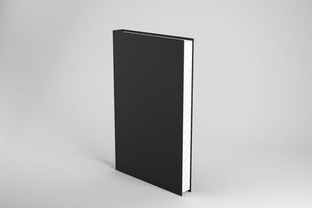 Creative closed black hardcover book on subtle background. Publish and advertisement concept. Mock up, 3D Rendering