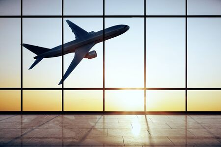 Creative airport interior with flying by airplane and sunlight view in panoramic window. 3D Rendering
