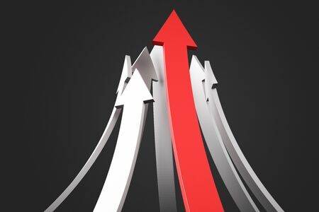 Abstract red arrows on black background. Growth and forward concept. 3D Rendering