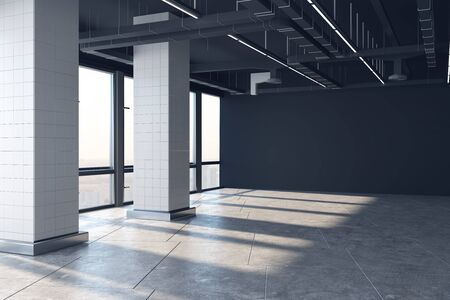 Bright empty office interior with panoramic city view and sunlight on concrete floor. 3D Rendering