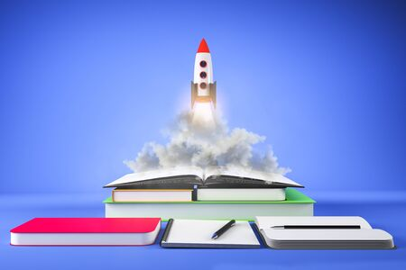 Rocket ship launching off book pile on subtle blue background. Startup and education concept. 3D Rendering