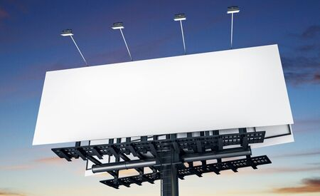Clear white billboard on blue sku and clouds background. Commercial and ad concept. Mock up, 3D Rendering