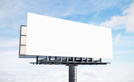 Blank white billboard on blue sku and clouds background. Commercial and ad concept. Mock up, 3D Rendering
