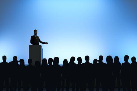 Geschäftsmann, der Rede vor hintergrundbeleuchtetem Publikum auf hellblauem Hintergrund hält. Sprecher- und Leiterkonzept Standard-Bild