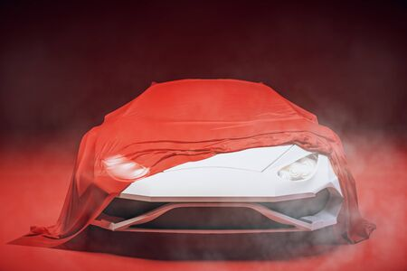 Stylish sports car presentation with red cloth. Design and exhibit concept. 3D Rendering 写真素材
