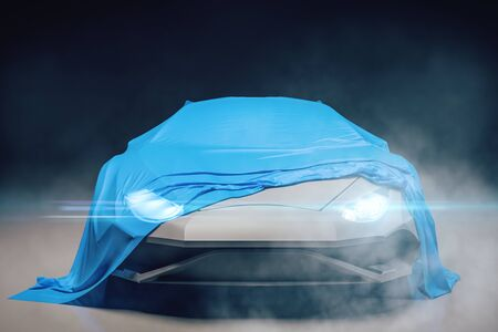 Stylish sports car presentation with blue cloth. Design and exhibit concept. 3D Rendering