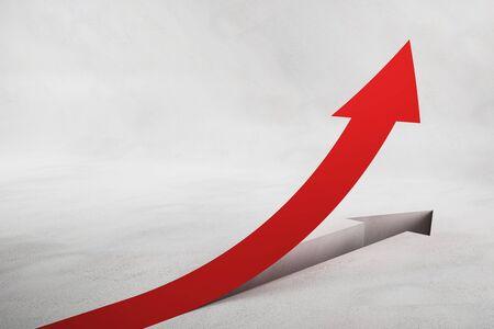 Flechas rojas abstractas sobre fondo de hormigón. Concepto de crecimiento y avance. Representación 3D